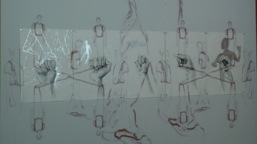 """Silver Code: T.A.N.G.O. (2011), mixed media drawing on paper, 20""""x 110"""", and video projection, 11 minutes, black and white, silent, looped"""