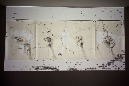 """White Code: H.O.M.E. (2011), mixed media drawing, 28""""x 88"""", and video projection, 14 minutes, looped"""