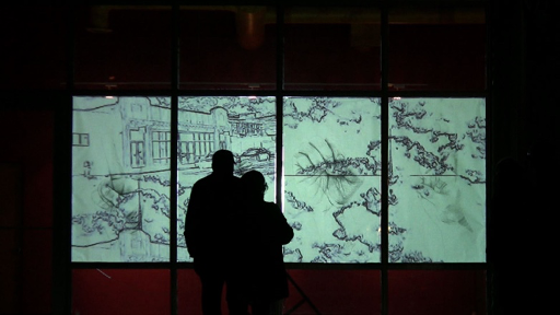 White Code: V.I.E.W. (2012), graphite drawing, and video projection, silent, color, 25 minutes, looped