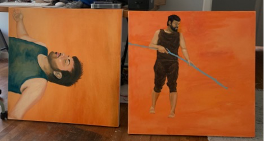 """Fame/Fate (2019-21), oil on canvas, 40""""x 40"""", and performance, 10 minutes"""
